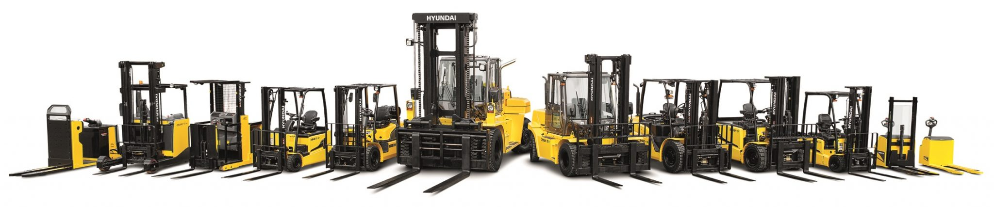 Line up of most 7 Series Hyundai Forklifts